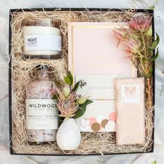BLUSH GIFT BOX - The perfect lovely box. Includes local goods such as, rose and cedar soy candle, hand made bracelet, and artisan milk chocolate.
