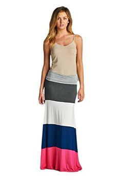 Vanilla Bay Color Block Maxi Skirt -- Learn more by visiting the image link.