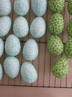 Cover paper mache eggs with paper napkins!