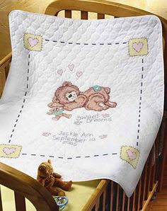 Sweet Dreams Quilt - Stamped Cross Stitch Kit Cross Stitch Baby Blanket, Baby Cross Stitch Patterns, Minnie Baby, Hand Work Embroidery, Cross Stitch Needles, Quilt Kits, Free Baby Stuff, Cross Stitching, Baby Quilts