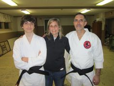Me with my husband and son when they earned their black belts in karate. Their teacher inspired the character of Larry. Jackie Chan, Black Belt, Karate, Larry, Belts, Chef Jackets, Sons, Husband, Teacher