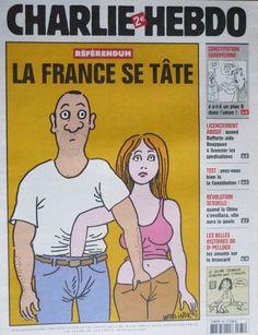 Charlie Hebdo - # 675 - 25 Mai 2005 - Couverture : Wolinski Satire, Caricatures, 25 Mai, Comic Books, France, Comics, Goat, Cards, Fun