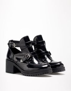 Buckled Black Patent Leather Open Ankle #Boots
