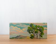 Paint by Number Art Block 'Tree Branches' - vintage, trees, landscape, sky. $20.00, via Etsy.