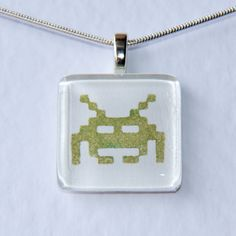 Handmade Glass Tile Retro Green Space Invaders Pendant - pinned by pin4etsy.com