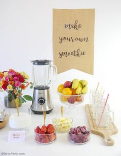 Learnt o style a SMOOTHIE BAR for your summer party and celebrations, with healthy, tasty recipes that look so pretty and refreshing for summer!