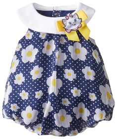 Disney Baby-Girls Newborn Bubble Romper with Marie Cat Bow, Multi, 0-3 Months