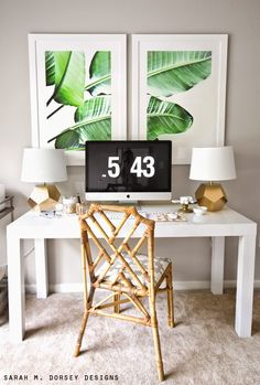 Love the palm and minimal design, the green, white and gold coloring... hate the chair though lol