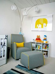 Grazia Swivel Glider and Ottoman in Heather Grey with Yellow Piping. Photo courtesy of Tung-Huy. Glider And Ottoman, Swivel Glider, Modern Nursery Decor, Baby Boy Rooms, Baby Room, Kids Corner, Decoration, Interior Inspiration, Grey Nurseries