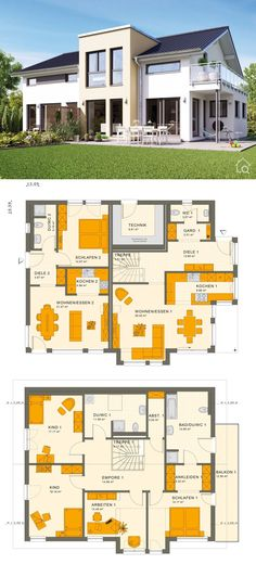"Two Family House with Granny Flat  Modern Contemporary European Style Architecture Design Floor Plans ""SOLUTION 230 V4"" - Dream Home Ideas Multi Generational House Layout by Living Haus  - Arquitectura moderna casas planos - HausbauDirekt.de #home #house #houseplan #dreamhome #newhome #homedesign #houseideas #housegoals #construction #architecture #architect #arquitectura #hausbaudirekt"