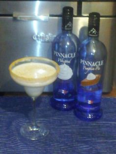 Pinnacle Pumpkin Pie Cocktail - similar to a White Russian using Whipped vodka also. Great for Halloween or Thanksgiving!  1.5 oz pumpkin our vodka .5 oz vanilla vodka 3 oz half and half. Shake with ice. Pour into martini glass rim lined with graham cracker crumbs.