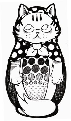 Russian Doll Cat by Siobhan McWilliams 2010/2011    I have this tattooed on my back!