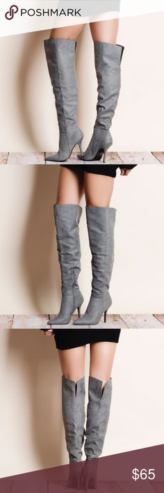 Grey Over the Knee Suede Boots Over the knee Faux suede boots. True to size. This is an actual pic of the item - all photography done personally by me. PRICE FIRM. NO TRADES DO NOT BOTHER ASKING. Qupid Shoes Over the Knee Boots