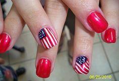 American flag nail art