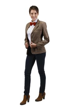 This new Eleventh Doctor women's jacket is the perfect combo of sassy and stylish: much like the Doctor himself! Take a whirl around the galaxy or simply cruise down the street in this fitted button-up polyester jacket. Styled with thick elbow patches for maximum comfort while single-handedly steering your TARDIS into the next dimension.
