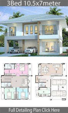 Duplex House Plans, House Layout Plans, Bedroom House Plans, Dream House Plans, Two Story House Design, 2 Storey House Design, Bungalow House Design, Double Storey House Plans, Philippines House Design