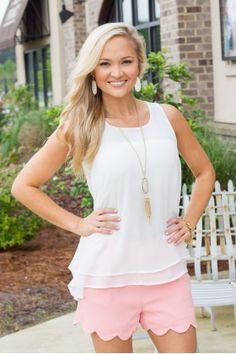 Perfectly Scalloped Shorts- Peach