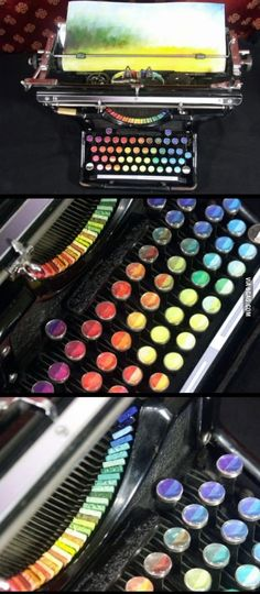 A typewriter with the keys and letters replaced with color pads - functional painting device called Chromatic Typewriter
