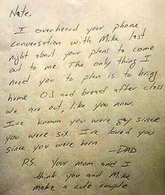 This note from Nate's dad: | 25 Pictures That Will Make You Believe In True Love