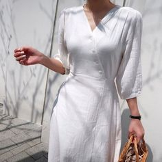 White wrap summer dress Wrap Linen Dress Natural Linen outfits or dresses Cotton loose tunic dress / flare long dress / flared dress / romantic dress / loose fit dress / maxi dress / comfortable dress Sewing Dress, Dress Sewing Patterns, Dress Outfits, Casual Dresses, Fashion Outfits, Tunic Dresses, Linen Tunic Dress, Wrap Dresses, Fashion Edgy