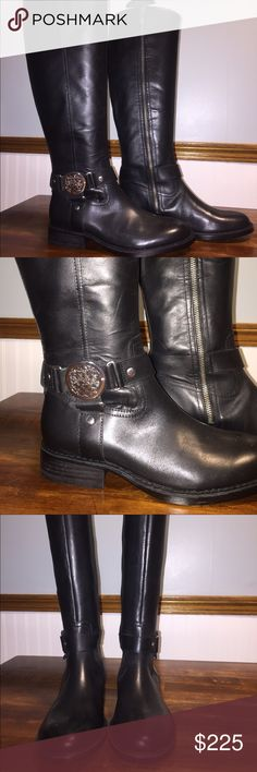 "Vince Camuto Boots ""Farrow"" Vince Camuto ""Farrow"" Tall Leather Boot with Crest. 🌸 NEW (no tag).  When recently redoing my closet, I got rid of all cardboard boxes and all tall boots in closet has a shoe tree.  Has never touched the ground outside. 😎 NWOT 👀 Vince Camuto Shoes Over the Knee Boots"