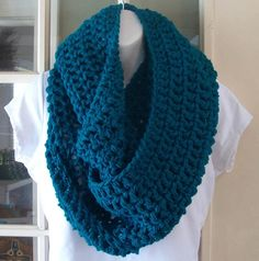 Blue green Teal cowl infinity scarf by MatsonDesignStudio on Etsy, $24.00