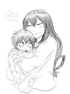 "kickbase77: ""Izuku and Tsuyu - mama time :,3 ! """