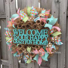 Welcome Wreath Spring Burlap Mesh Wreath by WelcomingWreathsMore