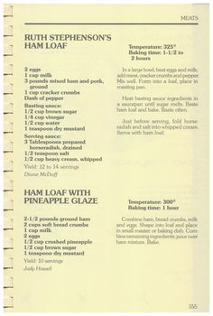 Our Country Cookin', 1984  - Ruth Stephenson's Ham Loaf, Ham Loaf With Pineapple Glaze http://www.amazon.com/gp/product/0961329602/ref=cm_sw_r_tw_myi?m=A3FJDCC1SFO8CE
