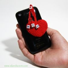 Crochet Mom Heart Anti Dust Plug Chain ~ only at www.islandscent.com