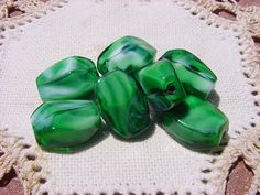 Forest Green Encased UNIQUE Vintage Glass Beads by vintagebeadnut, $4.50