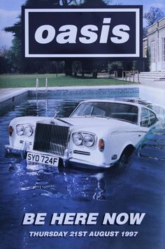 Oasis - be here now poster Rock Posters, Band Posters, Concert Posters, Music Posters, Liam Gallagher Oasis, Noel Gallagher, Oasis Band, Pool Images, Album Covers