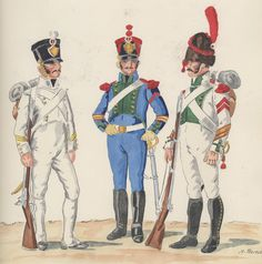 Naples; Infantry Regiment Ristonati de Sicilia, 1814-15 & 12th Line Infantry, Artillery Company, Corporal & Grenadier Sergeant Major 1814-15 by H.Boisselier