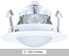 """4"""" Adjustable Shower Trim with Round Drop Frosted Lens    This Line Voltage downlight is designed to use 50W max 120V GU10 base MR16 lamp.  Dimension: O.D.: 4 7/8""""    Bulb: 50W Max. 120V GU10 Base MR16    Finish: White"""