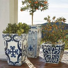 mediterranean decor Inspired by handpainted Mediterranean tiles, our Santorini Planters evoke the beauty of a Grecian garden. Crafted of durable polyester resin, styrene and fiberglass, these gently tapered planters marry looks and longevity. Outdoor Planters, Outdoor Gardens, Planter Pots, Outdoor Decor, Planter Ideas, Ceramic Planters, Indoor Outdoor, Kew Gardens, Garden Planters