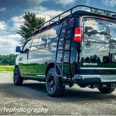 Chevy van conversion outfitted with Aluminess gear! Roof Rack Tent, Van Roof Racks, Roof Top Tent, 4x4 Camper Van, 4x4 Van, Truck Camping, Tent Camping, Chevy Conversion Van, Gmc Vans