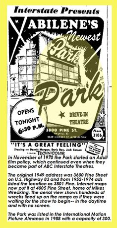 The Park Drive-In opened in 1949 with a capacity of 300 cars. It was enlarged to a capacity in It was operated by Interstate Theatre. Purple Mountain Majesty, Abilene Texas, Texas Parks, Canyon Lake, Loving Texas, Drive In Theater, Lone Star State, Sea To Shining Sea, Texas Homes