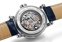 "Grieb & Benzinger are known for the mind-blowing masterpiece they create, based on the most lovely old pocket watch movements from Patek Philippe, Vacheron Constantin, Minerva chronographs and others. The newest masterpiece from the ""masters of skeletonized watches"" is the Blue Whirlwind, an amazing skeletonized tourbillon minute repeater based a rare Patek Philippe caliber in a platinum case. A similar masterpiece (however in a steel case) was donated to Only Watch 2011 and auctioned for…"
