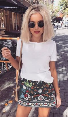 #summer #outfits White Tee + Printed Skirt