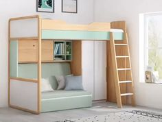 Raised beds bedroom - hochbeete schlafzimmer - chambre surélevée - dormitorio con … in 2020 (With images) Loft Beds For Small Rooms, Small Room Design Bedroom, Bed For Girls Room, Home Room Design, Room Ideas Bedroom, Tiny Bedrooms, House Design, Furniture For Small Spaces, Bedroom Ideas For Small Rooms Diy