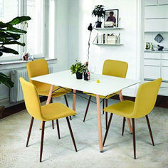 Dining Chairs Set of 4 Fabric Cushion Kitchen Chairs with Sturdy Metal Legs Dining Room Set Living Room Set, Pink/Grey/Yellow/Green Chairs Yellow Dining Chairs, Mismatched Dining Chairs, Cheap Dining Room Chairs, Fabric Dining Chairs, Dining Room Sets, Kitchen Chairs, Upholstered Dining Chairs, Dining Chair Set, Dining Room Furniture