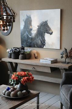 paardenschilderij & sidetable Hoffz Love the horses