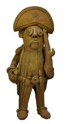 """JOEL GALDINO DE FREITAS - (XX)    Título: """" Curisco cangaceiro """"  Técnica: escultura em barro  Medidas: h = 32 cm  Assinatura: assinado  Data/Local: Caruaru/PE - 4.1.2004"""