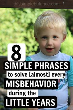 Discipline for Kids (toddlers, preschoolers, kindergarteners) doesn't need to drive you crazy! These 8 simple phrases handle almost every unwanted child behavior during the little years (and they actually work). #parentingtips #preschoolparentingtips #parentingtoddlers