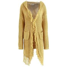 Boho Open Front Fringe Cardigan in Mustard ($39) ❤ liked on Polyvore featuring tops, cardigans, beige cardigan, short-sleeve cardigan, long sleeve cardigan, bohemian tops and mustard yellow long cardigan