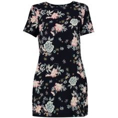 Boohoo Jeanie Floral Woven Cap Sleeve Shift Dress | Boohoo ($18) ❤ liked on Polyvore featuring dresses, floral day dress, floral dresses, flower pattern dress, woven dress and blue shift dress