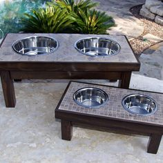 Check out this project on RYOBI Nation - Inspired by a project on ana-white.com, I modified the single bowl raised pet feeder by adding tile over the hardback cement board (over the wood platform).  Then, I trimmed it with a thin border of wood.  These are pretty addictive to make.  Since I have 9 animals, I have them all over the house!