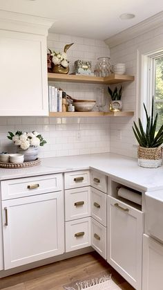 """These corner drawers are one of my favorite things we decided on during our kitchen renovation! Get all the details of our reno and see the """"before"""" & """"after"""" in this post! Kitchen Pantry Design, Modern Kitchen Design, Home Decor Kitchen, Interior Design Kitchen, Kitchen Furniture, Home Kitchens, Small Kitchens, Open Kitchen Shelving, Backsplash Ideas For Kitchen"""