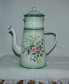 VINTAGE FRENCH ENAMELWARE COFFEE POT/BIDDIN.floral spray on white with green