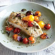 Halibut with Charred Tomatoes and Dill Recipe   Cooking Light #myplate #protein #veggies
